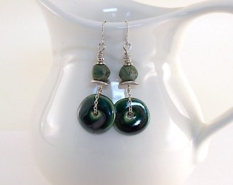 Festive Green Earrings - Kazuri Earrings - Czech Glass Earrings - Green Earrings - Silver Earrings - Wire Earrings - Long Earrings - E025