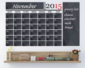 Chalkboard Calendar With Large Note Panel Vinyl Wall Decal (With Free Numbers Through 2017)