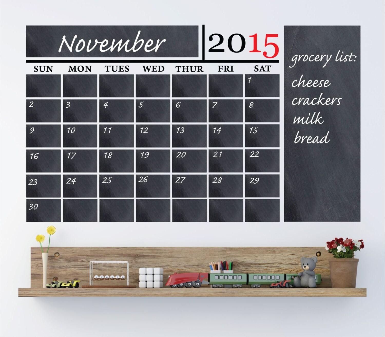 Chalkboard Calendar Wall Decal : Vinyl chalkboard calendar wall decal