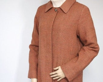 Coat Vintage Coat Houndstooth Coat Rust Wool Coat Blend Classic Mod Coat Knee length Lightweight Size Medium