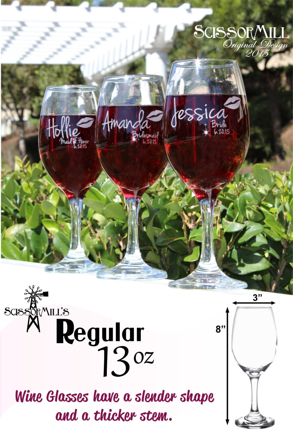 Bridesmaid Gift Personalized Wine Glasses By ScissorMill