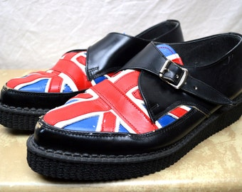 Vintage Underground 1980s Red White Blue UK Britian Flag Creepers- Made in England