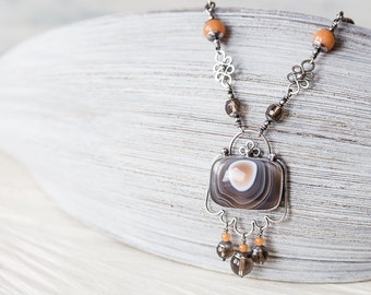 Dainty Bohemian Necklace, Sterling Silver Botswana Agate Necklace, smoky quartz, aventurine, artisan boho necklace, natural stone