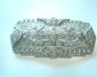 Diamond Sterling Brooch 1920 Vintage Wedding Jewelry Diamond Sterling