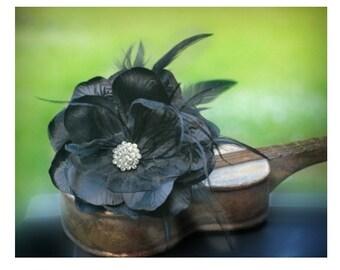 Wedding Black Flower Pin / Clip / Comb. Vintage Millinery Style. Bridal Bride Drama, Romantic Romance Unique Timeless. Ebony Feathers Silk