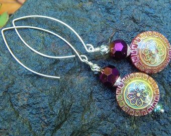 Mandala Mood Earrings - Color-Changing Mirage Mood Beads w Crystal Accents & Handmade Sterling Silver Ear Wires / Proceeds Aid Kids w Autism
