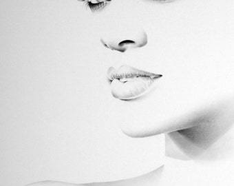 Rihanna Minimalism Original Pencil Drawing Fine Art Portrait