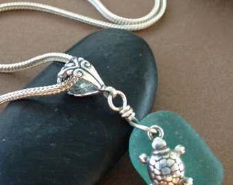 Beach Walk Necklace - Sea Glass with Sterling Silver Sea Turtle Pendant Necklace