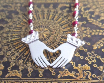 You Hold My Heart in Your Hands Sterling Silver and Garnet Necklace