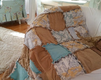 Cozy Shabby  Wool and Cotton Rag Patchwork  Throw Quilt Picnic Blanket Cream Aqua Toffee Tones Toile Ozbourne