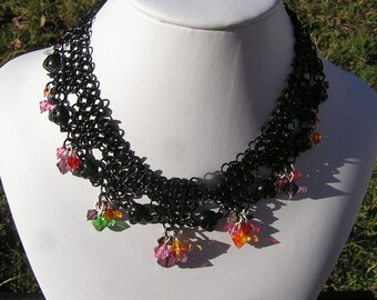 multicolor crystal, black chain mail necklace