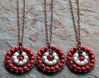 Bullseye necklace, Target Necklace, archery, hunter girl necklace, red and white, wire wrapped, unique valentines day gift, woodland jewelry