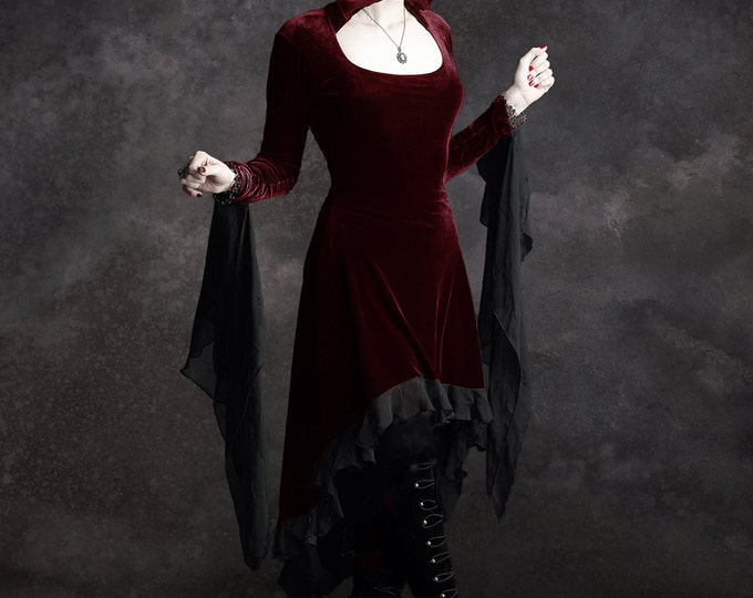 Circee Dark Red Hooded High Low Romantic Gothic Dress size Small - ready to ship immediately