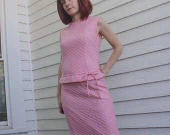 Vintage 60s Pink Knit Top and Skirt Sleeveless S XS Spring Summer