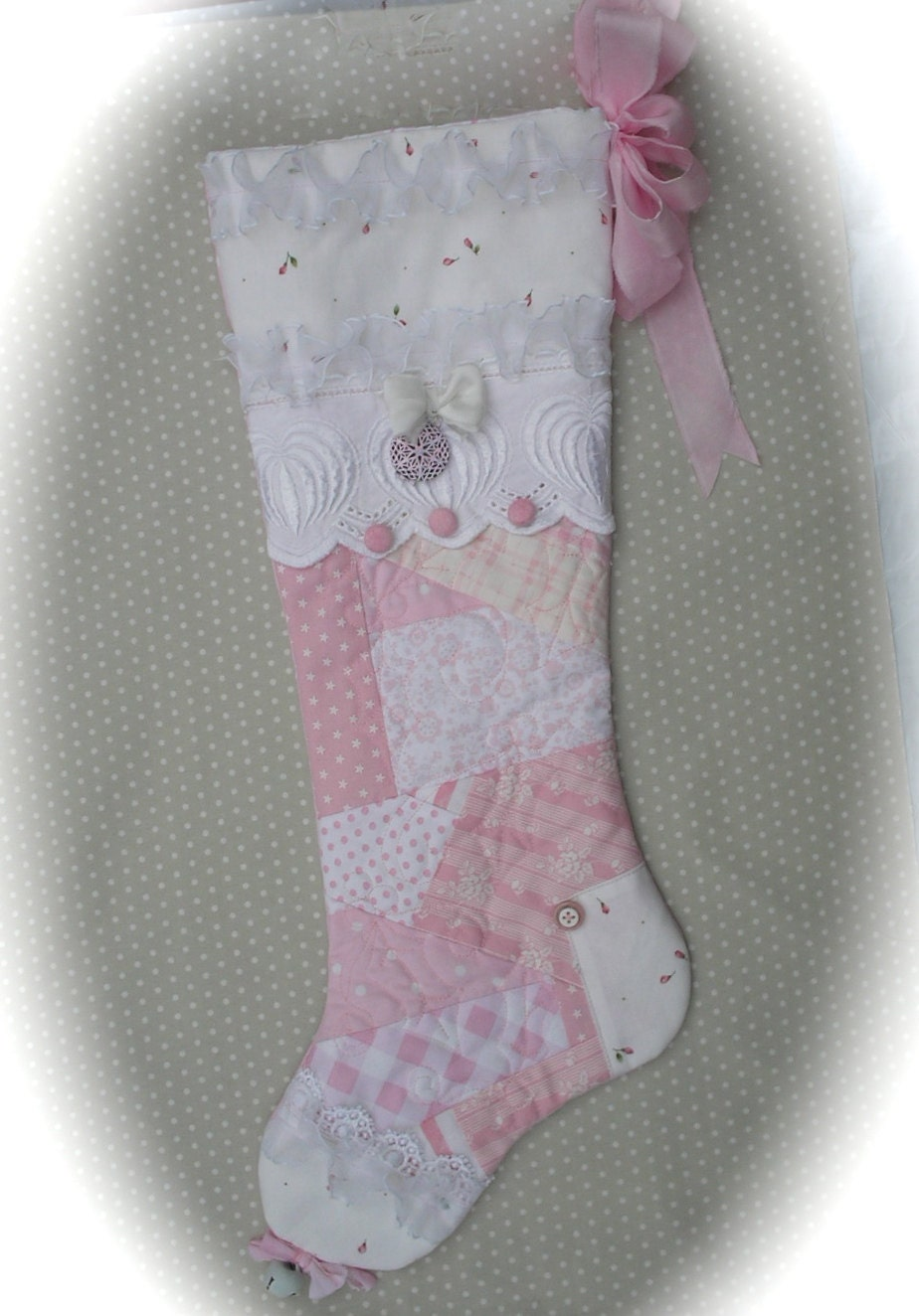Shabby Chic Pink Patchwork Christmas Stocking Quilted