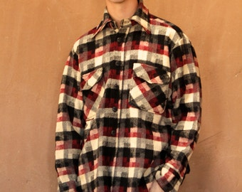 WOOL 60s plaid FLANNEL thick jacket shirt