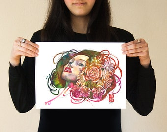 Spring | Japanese Art Print Rainbow Flower Girl Beautiful Asian Female Woman Face Head Kanzashi Kimono Hair Watercolor Colorful Vibrant