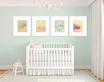 toddler girl room decor, set of 4 prints, carnival art, baby girl wall decor, pastel nursery art, ferri wheel, carnival nursery decor girl
