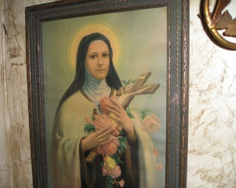 Beautiful Serene St.Terese of Lisieux The Little Flower of Jesus Old Picture/Litho Framed Signed Framed Religious Icon