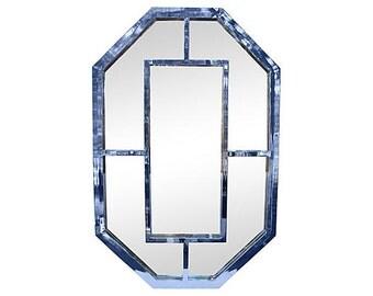 Overscale Milo Baughman Vintage Hollywood Regency Chrome Octagonal Mirror