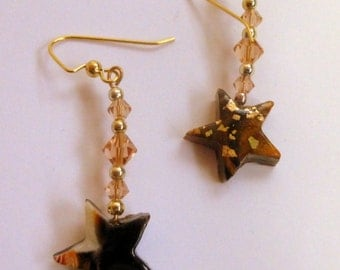 Gold Star Dangle Earrings Polymer Clay Hand Made