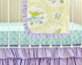 Lavender Mockingbird Custom Baby Bedding Set, Aqua and Lavender Baby Girl Bedding