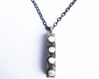 Silver Lego Necklace Mens Pendant Jewellery Silver Black Metals
