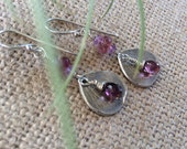 Sterling Silver Pink Tourmaline Earrings,Flower Petal Earrings,Natural Gemstone Earrings,October Birthstone,Heart Chakra Earrings