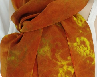 silk scarf large long gold rust Roman Fire luxury crepe luxury hand painted unique wearable art