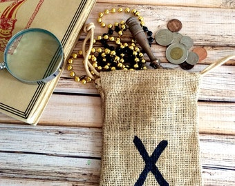 Party Favor Bags Burlap X marks the spot Pirate theme loot gift bags for Birthdays set of 6