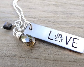 LOVE Paw Print Necklace. Dog Lover Necklace, Gift For Pet Lover, Rescue Dog Jewelry. Stainless & Sterling Hand Stamped Pawprint Necklace