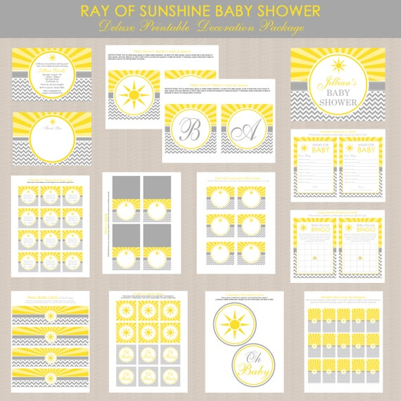 ray of sunshine baby shower printables package sunshine baby shower