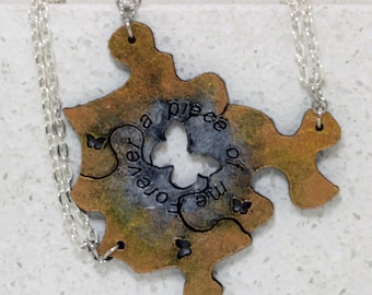 Friendship  Puzzle Piece Necklaces or Key chains Set of 3 Leather Pendants Silver and gold Forever a piece of me