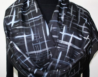 Black Hand Painted Silk Scarf. Silver Lights Silk Scarf in Black, White and Silver. Made in Colorado. 100% silk. Offered in Several SIZES