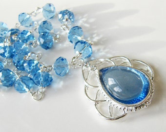 Blue crystal necklace, blue jewelry, large pendant necklace, for her, silver necklace, Europe