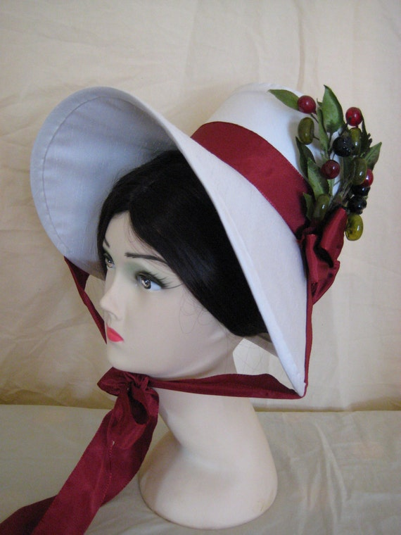 Regency Bonnet. Jane Austen. Ivory + Wine, Vintage Berry Trim.