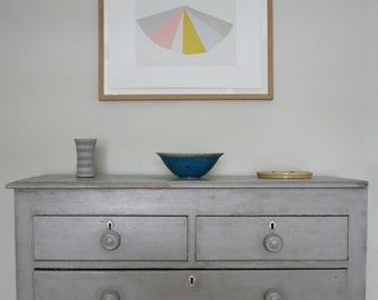 Geometric silkscreen print, large abstract fine art, greys, pink, yellow. Emma Lawrenson, limited edition, original printmaking