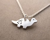 Tiny Dinosaur Necklace, Baby Dinosaur, Fine Silver, Sterling Silver Chain, Made To Order