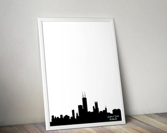 Wedding Guestbook Print - Chicago Skyline Guest Book Alternative - Personalized Print 8x10 or 11x14