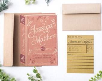 Vintage Romance Book Invitation Set.