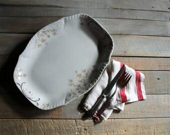 Vintage Oblong Floral Platter