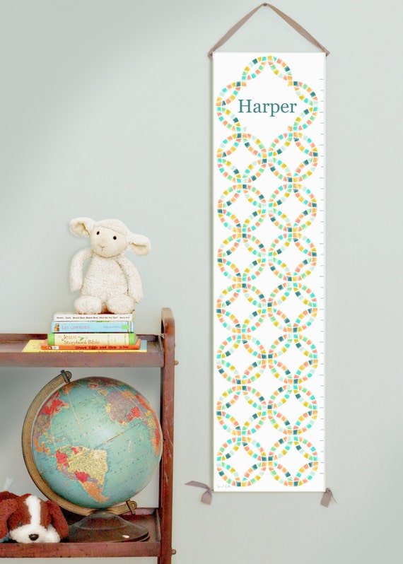 Personalized canvas growth chart with vintage quilt design