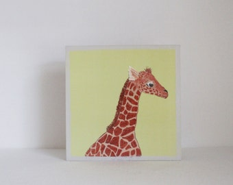 safari nursery print, jungle nursery decor, giraffe wall art- 5x5 art block- safari nursery art-  giraffe nursery decor- redtilestudio