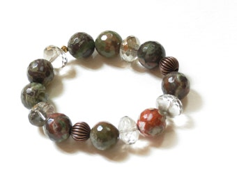 Jasper and bronze beaded stretch bracelet - earth tones - Birthday, anniversary, Graduation- fast ship