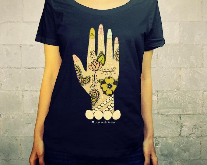 Guru // Ladies Womens Scoop Neck Tee Shirt, T-shirt, Clothing, Yoga, Spirituality, Buddha, Illustration, Henna Mendi, Gifts for Her, Om, Ohm