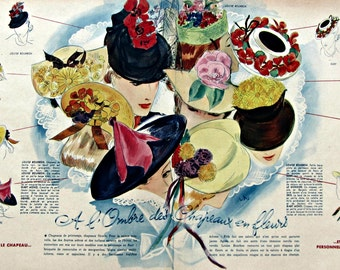 Vintage Hats' Fashion published in french magazine dated 1930's