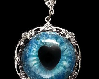 Sightmares ™ © Dragon Heart in Blue a nd Lavender Glitter set in Silver Plated brass by Dr Brassy Steampunk