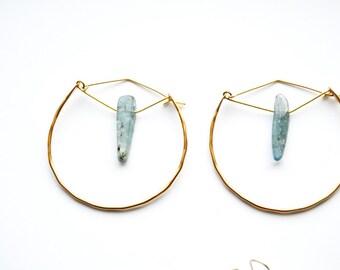 S E A W E E D   Hand formed geometric gemstone hoops