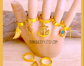 Dangle Charm Rings, Gold Finger Dangling Rings , Charm Adjustable Ring By: Tranquilityy