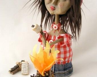 Campfire Girl - S'more Please - OOAK Folk Art